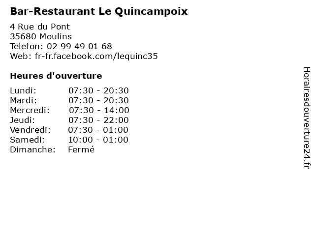 Bar-Restaurant Le Quincampoix à Moulins: adresse et heures d'ouverture