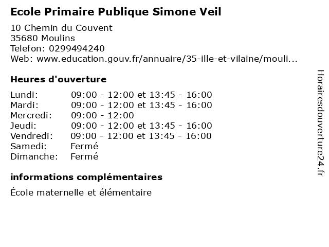 Ecole Primaire Publique Simone Veil à Moulins: adresse et heures d'ouverture