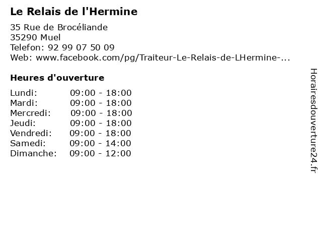 Le Relais de l'Hermine à Muel: adresse et heures d'ouverture