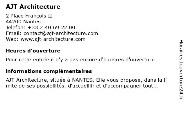 AJT Architecture à Nantes: adresse et heures d'ouverture