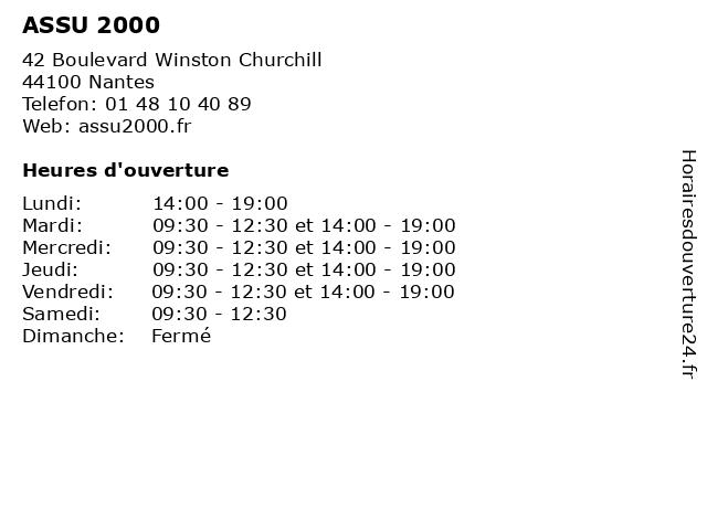 ASSU 2000 à Nantes: adresse et heures d'ouverture