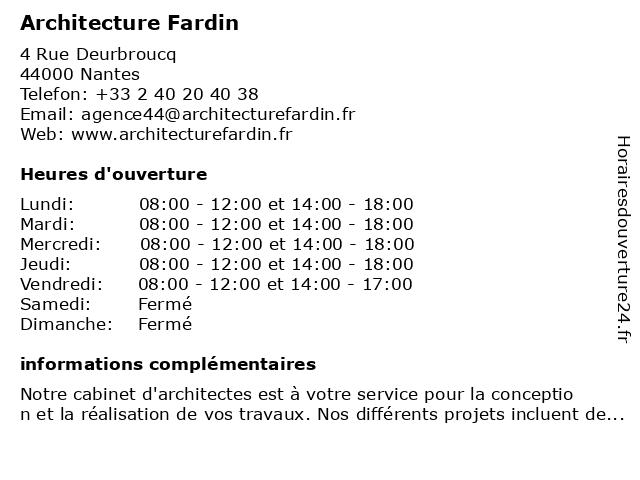 Architecture Fardin à Nantes: adresse et heures d'ouverture