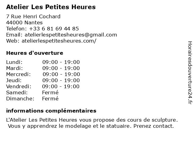 Atelier Les Petites Heures à Nantes: adresse et heures d'ouverture