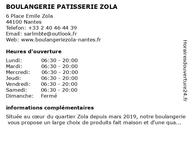 BOULANGERIE PATISSERIE ZOLA à Nantes: adresse et heures d'ouverture