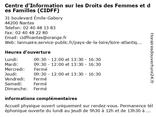 Centre d'Information sur les Droits des Femmes et des Familles (CIDFF) à Nantes: adresse et heures d'ouverture