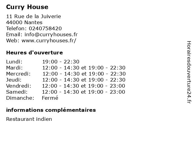 Curry House à Nantes: adresse et heures d'ouverture