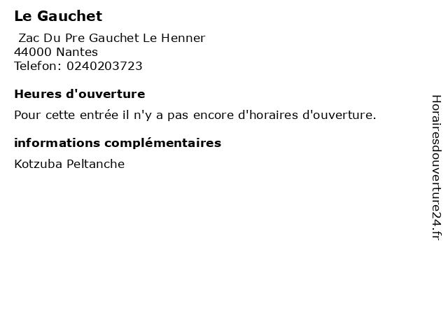 Le Gauchet à Nantes: adresse et heures d'ouverture