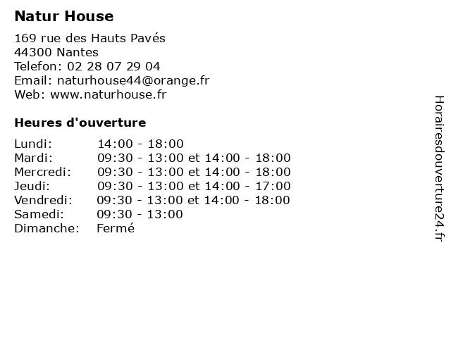 Natur House à Nantes: adresse et heures d'ouverture