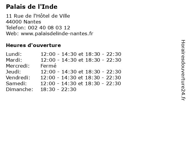 Palais de l'Inde à Nantes: adresse et heures d'ouverture