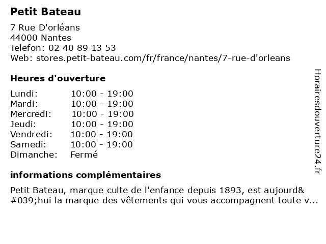 Petit Bateau à Nantes: adresse et heures d'ouverture