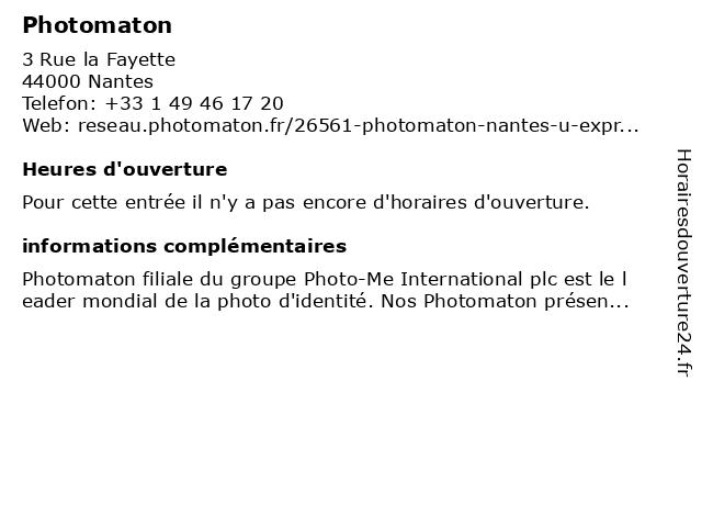 Photomaton à Nantes: adresse et heures d'ouverture