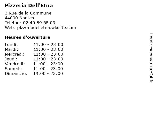 Pizzeria Dell'Etna à Nantes: adresse et heures d'ouverture