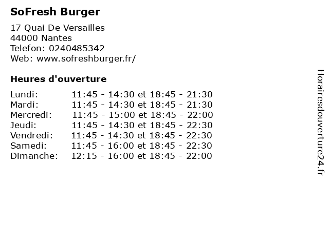 SoFresh Burger à Nantes: adresse et heures d'ouverture