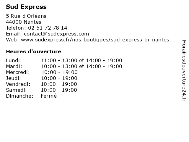 Sud Express à Nantes: adresse et heures d'ouverture