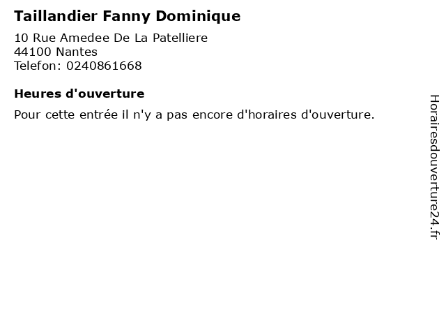 Taillandier Fanny Dominique à Nantes: adresse et heures d'ouverture