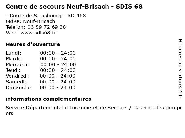 Centre de secours Neuf-Brisach - SDIS 68 à Neuf-Brisach: adresse et heures d'ouverture