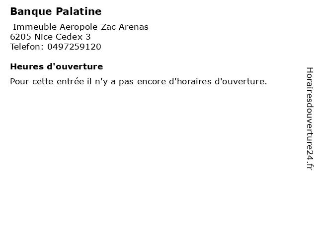 Banque Palatine à Nice Cedex 3: adresse et heures d'ouverture