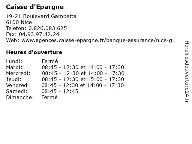 Caisse d'Epargne à Nice: adresse et heures d'ouverture