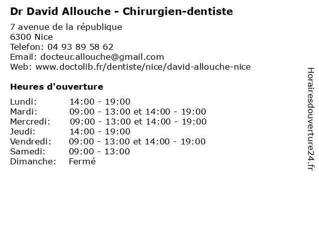 Dr David Allouche - Chirurgien-dentiste à Nice: adresse et heures d'ouverture