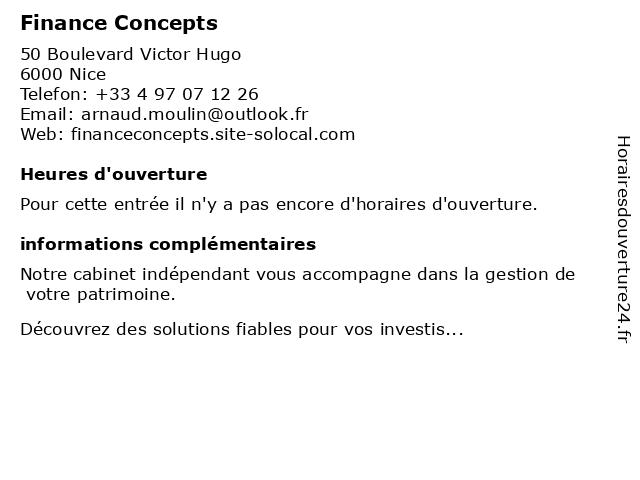 Finance Concepts à Nice: adresse et heures d'ouverture