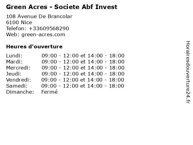 Green Acres - Societe Abf Invest à Nice: adresse et heures d'ouverture