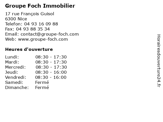 Groupe Foch Immobilier à Nice: adresse et heures d'ouverture