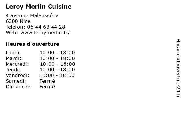 Leroy Merlin Cuisine à Nice: adresse et heures d'ouverture