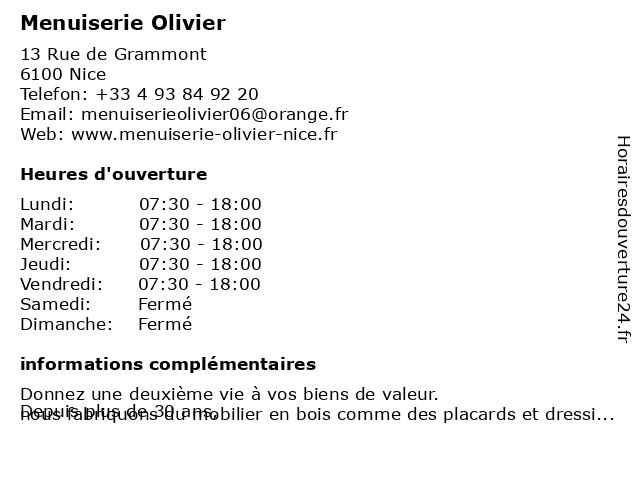Menuiserie Olivier à Nice: adresse et heures d'ouverture