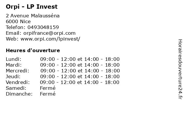 Orpi - LP Invest à Nice: adresse et heures d'ouverture
