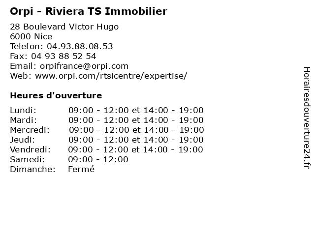 Orpi - Riviera TS Immobilier à Nice: adresse et heures d'ouverture