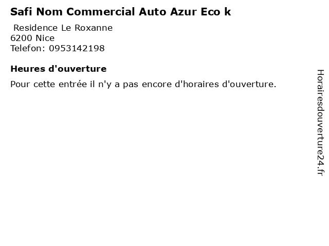 Safi Nom Commercial Auto Azur Eco k à Nice: adresse et heures d'ouverture