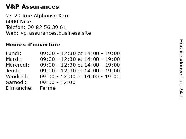 V&P Assurances à Nice: adresse et heures d'ouverture