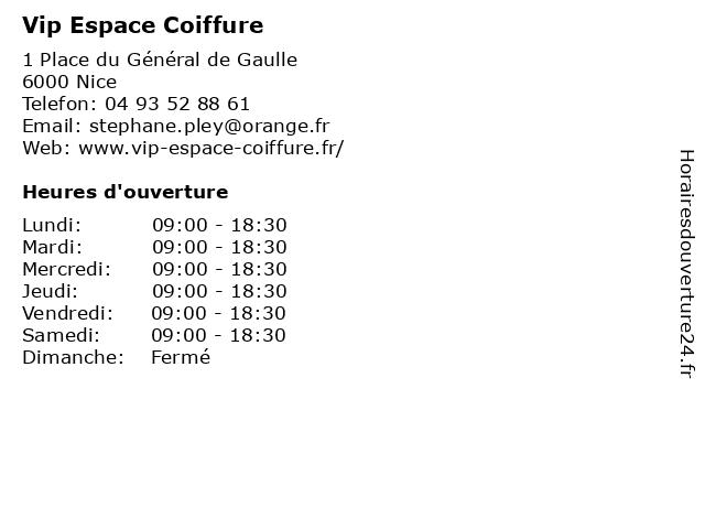 Vip Espace Coiffure à Nice: adresse et heures d'ouverture