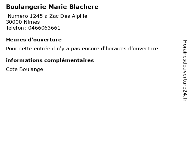 Boulangerie Marie Blachere à Nimes: adresse et heures d'ouverture