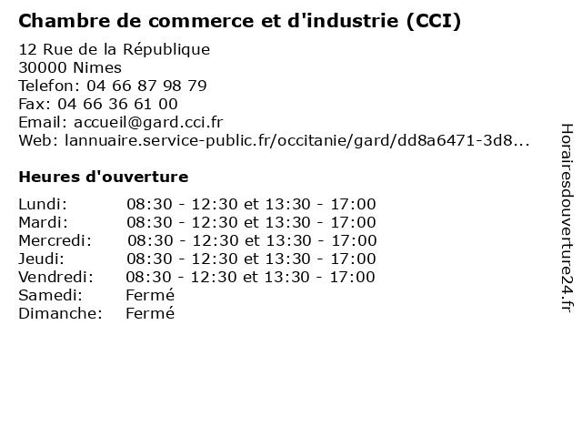 Chambre de commerce et d 39 industrie gard horaires d - Chambre de commerce bobigny adresse ...