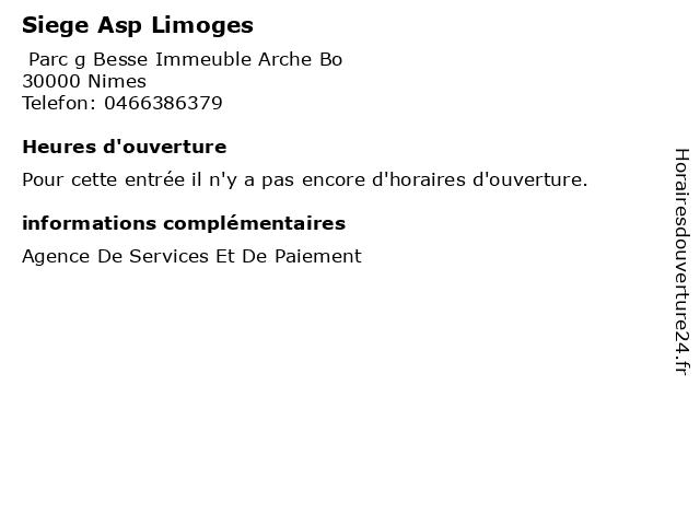 Siege Asp Limoges à Nimes: adresse et heures d'ouverture