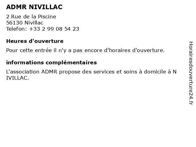 ADMR NIVILLAC à Nivillac: adresse et heures d'ouverture