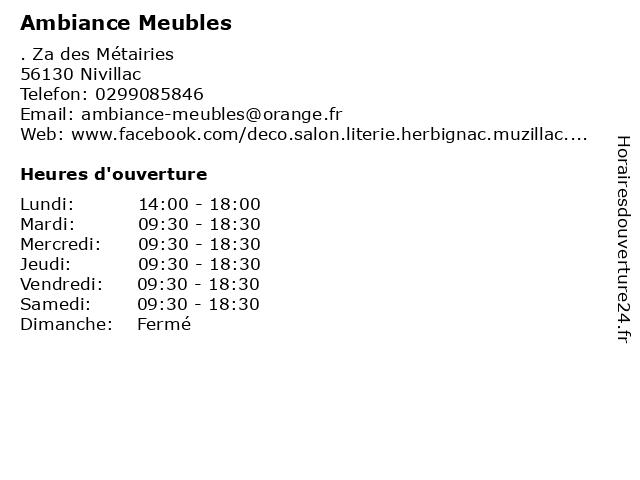 Ambiance Meubles à Nivillac: adresse et heures d'ouverture