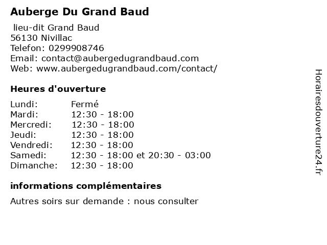 Auberge Du Grand Baud à Nivillac: adresse et heures d'ouverture