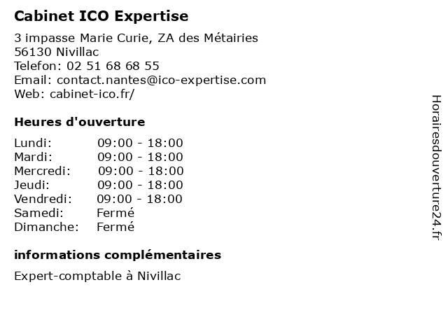 Cabinet ICO Expertise à Nivillac: adresse et heures d'ouverture
