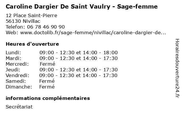Caroline Dargier De Saint Vaulry - Sage-femme à Nivillac: adresse et heures d'ouverture
