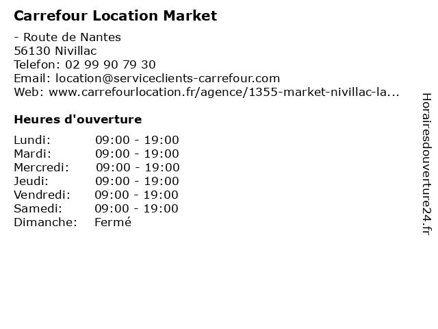 Carrefour Location Market à Nivillac: adresse et heures d'ouverture
