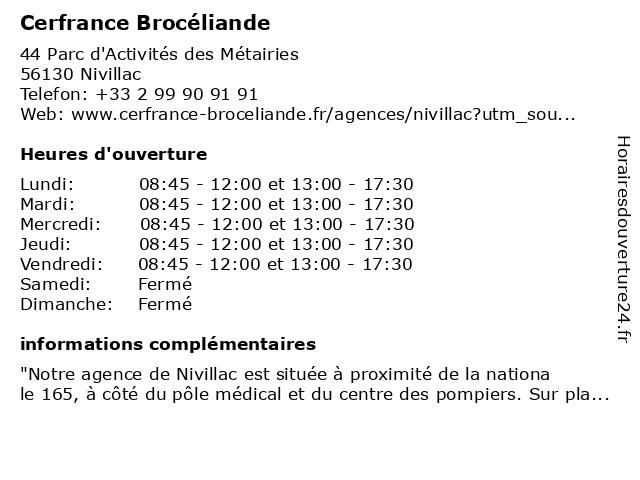 Cerfrance - Expertise Comptable à Nivillac: adresse et heures d'ouverture