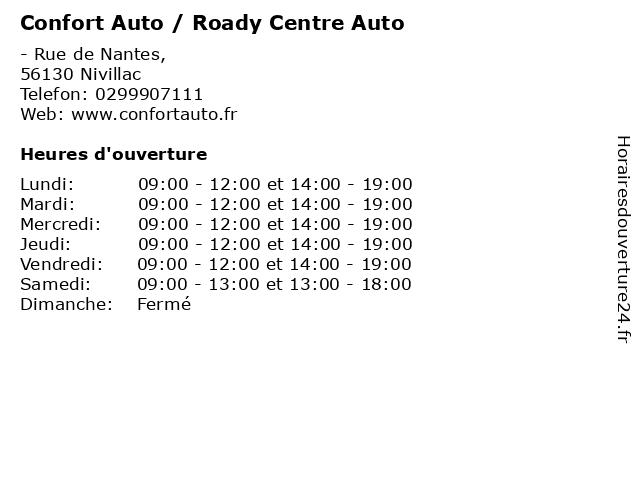 Confort Auto / Roady Centre Auto à Nivillac: adresse et heures d'ouverture