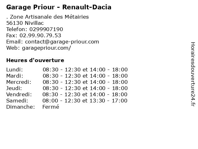 Garage Priour - Renault-Dacia à Nivillac: adresse et heures d'ouverture