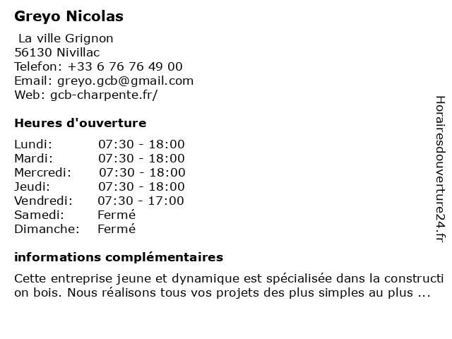Greyo Construction Bois à Nivillac: adresse et heures d'ouverture