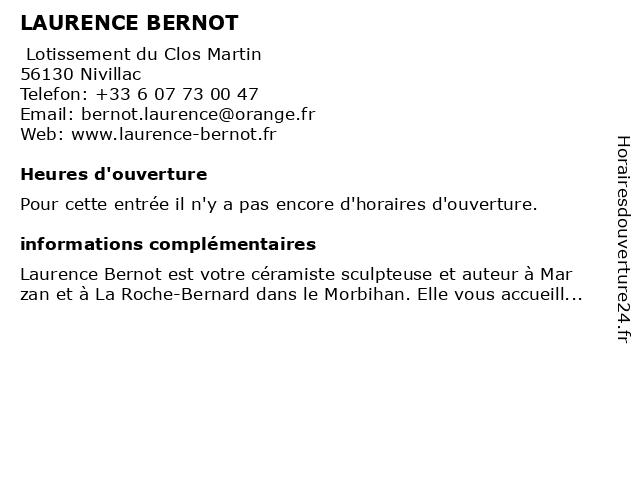 LAURENCE BERNOT à Nivillac: adresse et heures d'ouverture