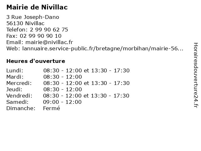 Mairie de Nivillac à Nivillac: adresse et heures d'ouverture