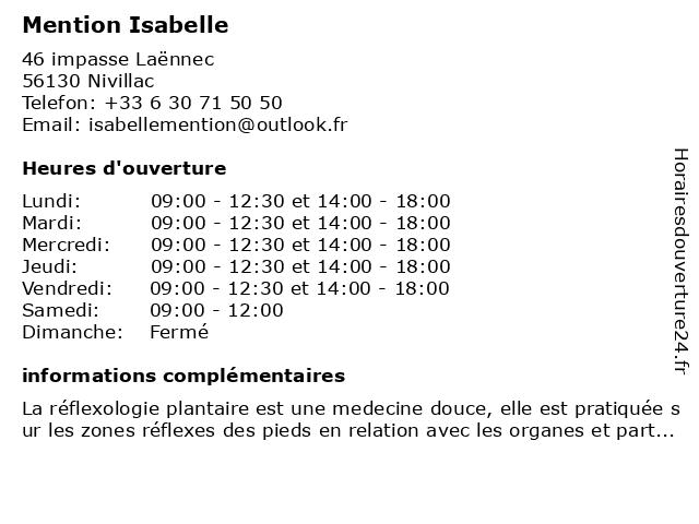 Mention Isabelle à Nivillac: adresse et heures d'ouverture