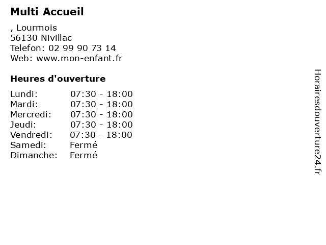 Multi Accueil à Nivillac: adresse et heures d'ouverture